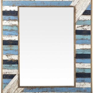Blue And White Stripes Rustic Hamptons Wall Mirror 62 x 82 cm
