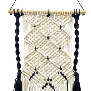 Boho Chic Black And White Macrame Tapestry Wall Hanging 35 x 65 cm