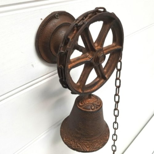 Cast Iron Ship Wheel And Chain Door Bell