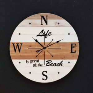 Extra Large Solid Wood Beach Compass Wall Clock