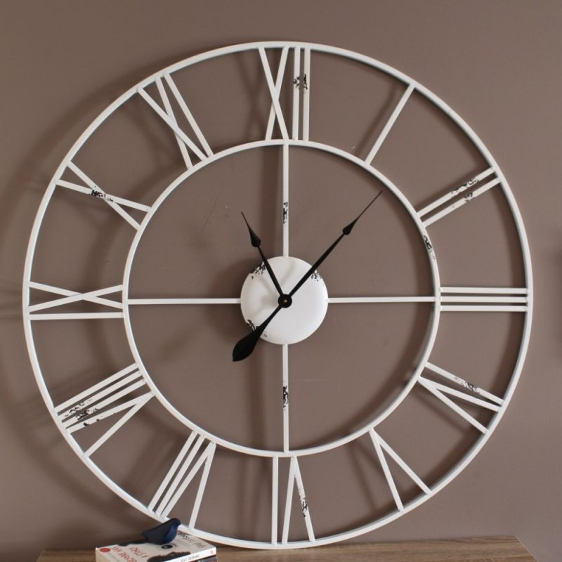 Extra Large XL Modern Rustic White Metal Wall Clock