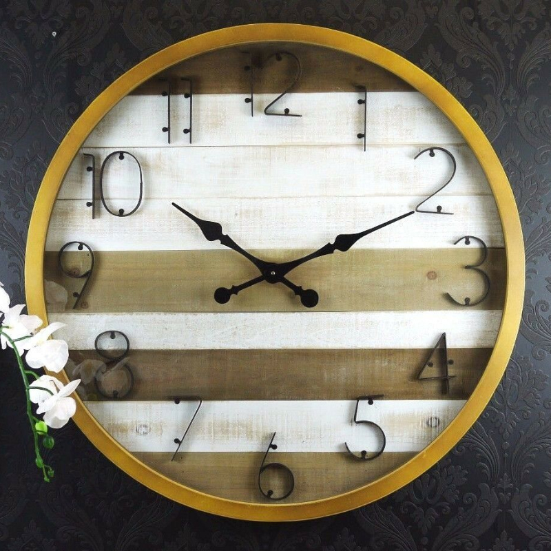 Extra Large XL Wooden Boards Glass Panel Wall Clock
