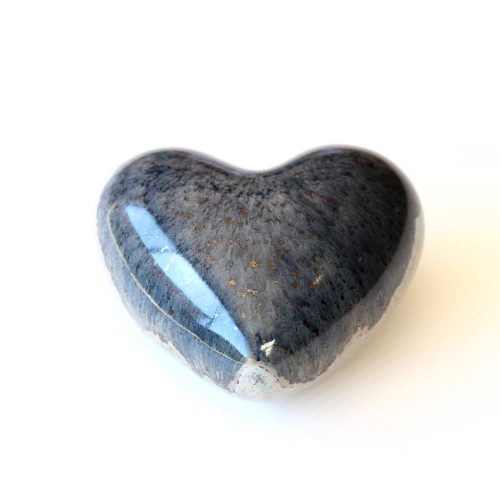 Glossy Blue Aventurine Heart Decorative Ornament