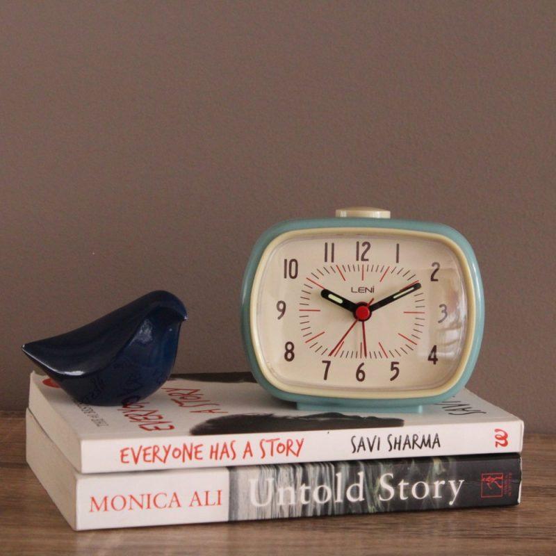 Glossy Smokey Blue Leni Retro Table Alarm Clock