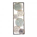 Golden Teal Abstract Circles Framed Metal Wall Art