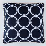 Hamptons Black And White Rope Circles Cotton Cushion 45 x 45 cm