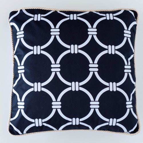 Hamptons Black And White Rope Circles Cotton Cushion 45 x 45 cm