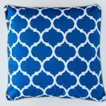 Hamptons Blue And White Moroccan Pattern Cotton Cushion 45 x 45 cm