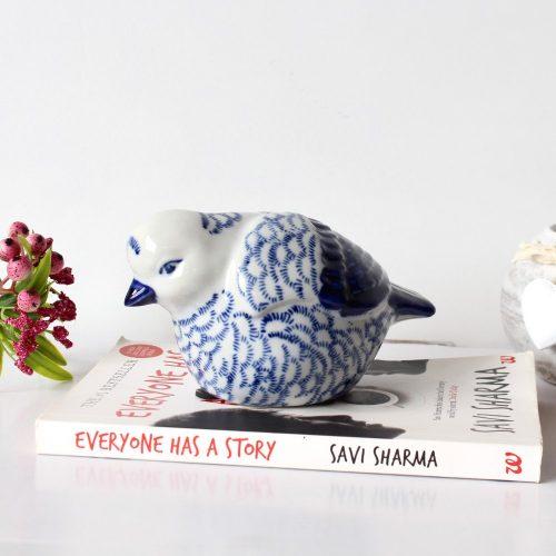 Hamptons Style Ceramic Willow Blue Bird Figurine
