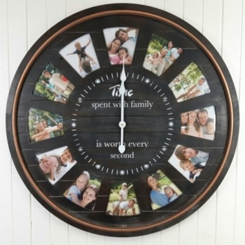 Large Black 12 In 1 Photo Frame Wooden Wall Clock