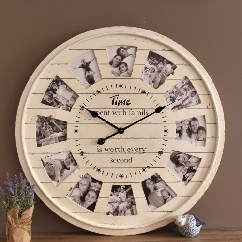 Large Distressed White 12 Photo Panel Wooden Wall Clock