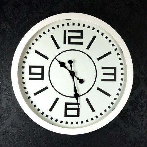 Large Modern White Timber Glass Wall Clock
