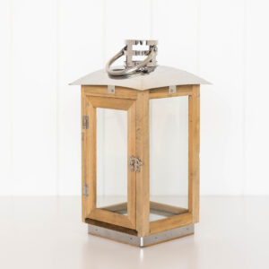 Large Rustic Timber And Glass Door Pillar Candle Lantern 35 cm