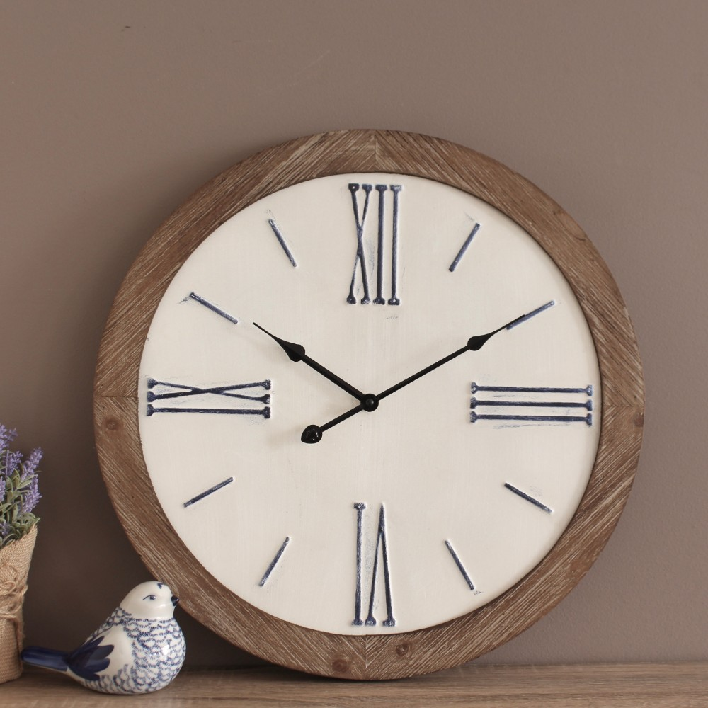 Large Rustic White Farmhouse Style Wooden Wall Clock 48cm