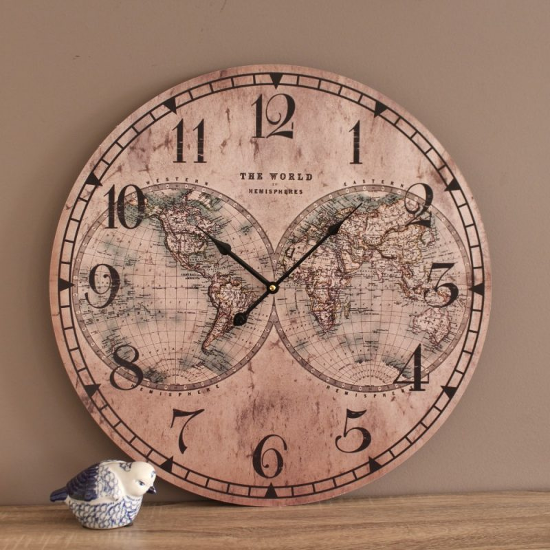 Large Rustic World Map Wooden Wall Clock
