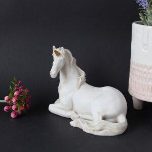 Matt White Sitting Unicorn Resin Figurine