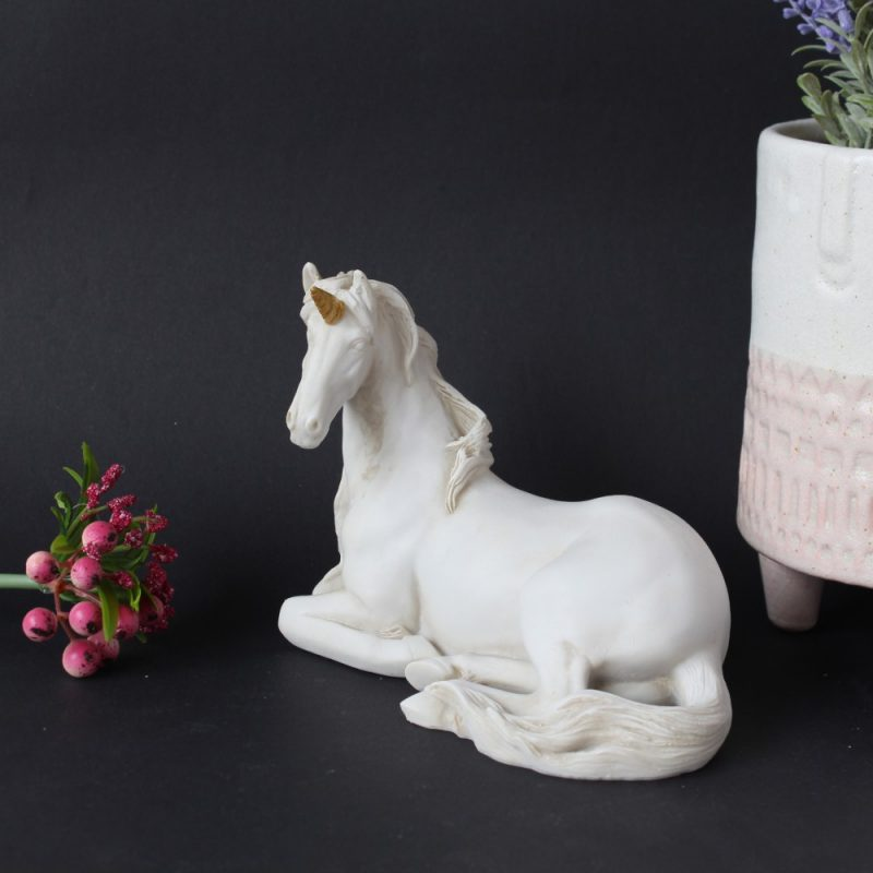 Matt White Sitting Unicorn Resin Figurine