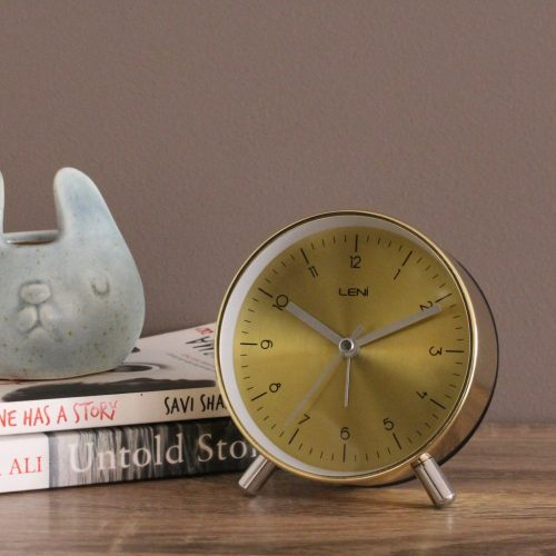 Modern Gold Metal Leni Table Alarm Clock