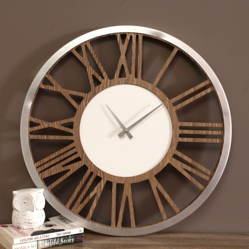 Natural Silver White Scandi Wooden Wall Clock
