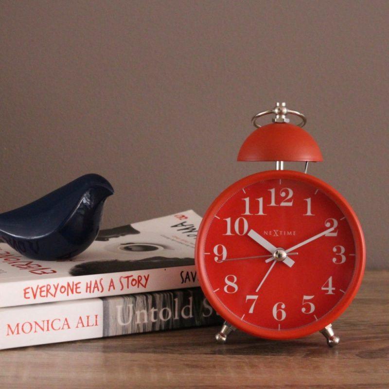 Red Metal Nextime Single Bell Silent Alarm Clock