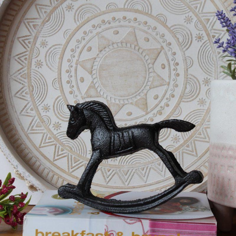 Rustic Cast Iron Black Rocking Horse Figurine