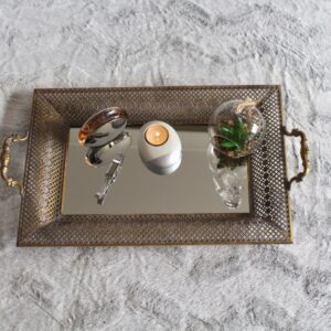 Rustic Gold Floral Metal Mirror Serving Tray With Handles