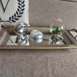 Rustic Gold Floral Metal Mirror Serving Tray With Handles_2
