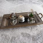 Rustic Gold Floral Metal Mirror Serving Tray With Handles_3