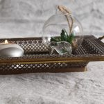 Rustic Gold Floral Metal Mirror Serving Tray With Handles_4