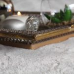 Rustic Gold Floral Metal Mirror Serving Tray With Handles_5