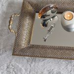 Rustic Gold Floral Metal Mirror Serving Tray With Handles_8