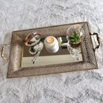 Rustic Gold Floral Metal Mirror Serving Tray With Handles_9