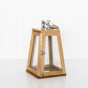 Rustic Timber Glass Door Pyramid Metal Candle Lantern 28 cm