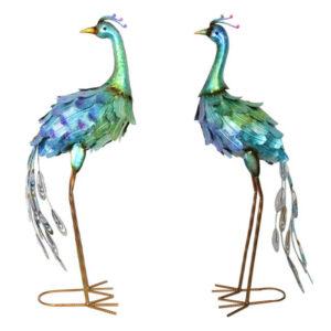 Set of 2 Blue Metal Peacocks Garden Bird Figurine