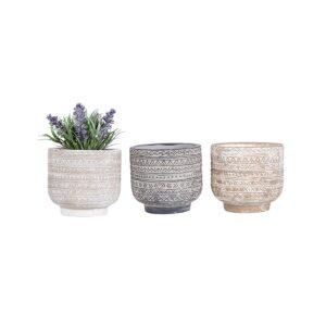 Set of 3 Bohemian Aztec Earthy Terracotta Pot Planter