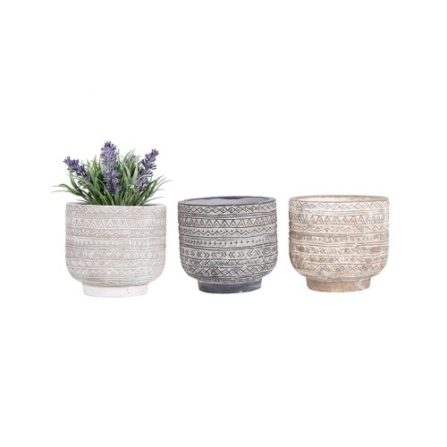 Set of 3 Bohemian Aztec Earthy Terracotta Pot Planter