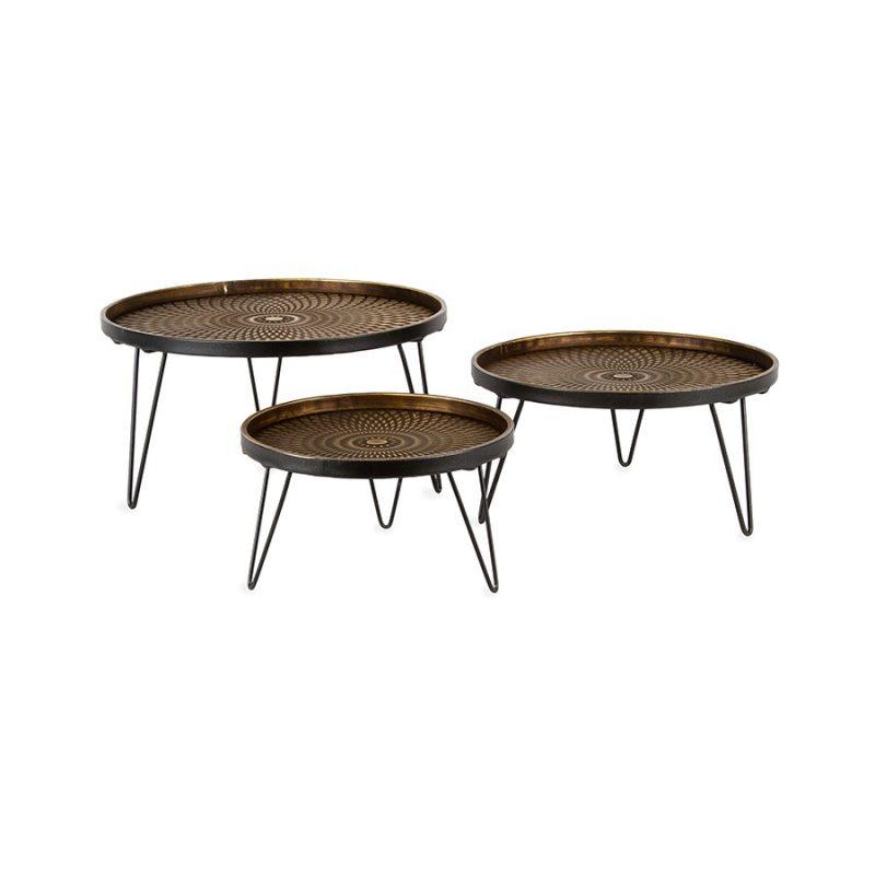 Set of 3 Golden Black Metal Lustre Stepped Platter Pots