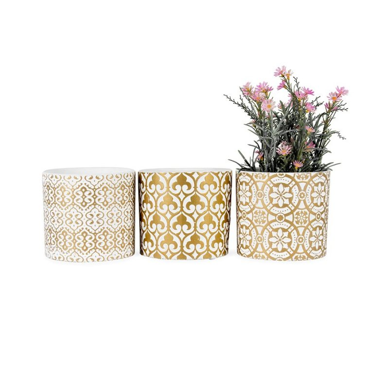Set of 3 Golden White Moroccan Scroll Pot Planter