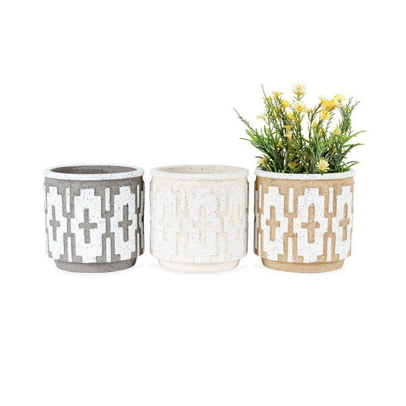 Set of 3 Modern Geometric Pattern Terracotta Pot Planters