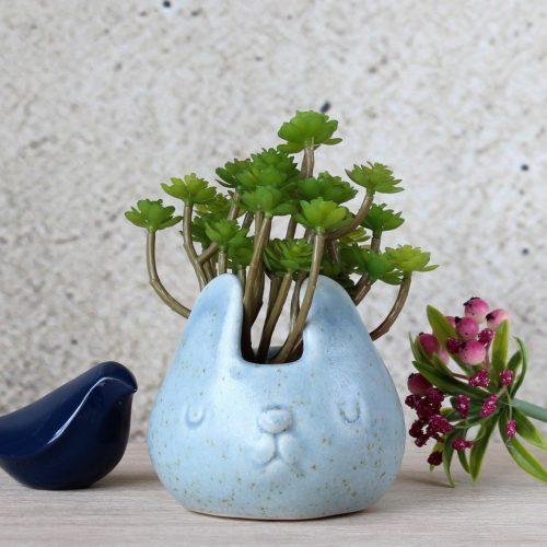Sky Blue Speckled Bunny Ceramic Pot Planter
