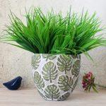Tropical Green Monstera Leaf Concrete Pot Planter