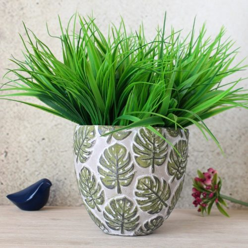Tropical Green Monstera Leaf Concrete Pot Planter