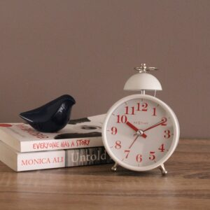 White Nextime Single Bell Silent Metal Alarm Clock-4