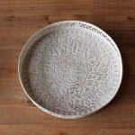 White Wash Mandala Pattern Metal Tray Set_3