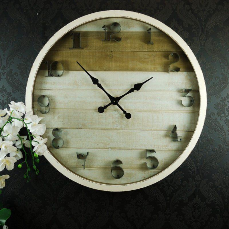 XL Hamptons White Glass Panel Wooden Wall Clock