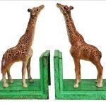 2 Pieces Cast Iron Giraffe Figurine Bookends Set