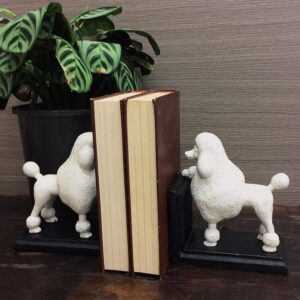 2 Pieces Cute Poodle Dog Resin Bookends
