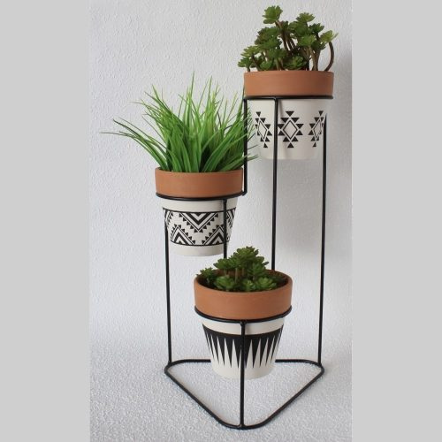 3 In 1 Aztec Terracotta Pots On Metal Stand Planter