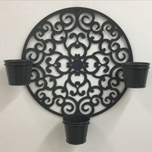 3 In 1 Black French Country Scroll Metal Pot Planter