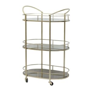 3 Tier Champagne Metal Mirror Drinks Trolley Bar Cart